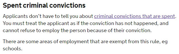 This is taken from the GOV.UK guidance for employers on preventing discrimination during recruitment